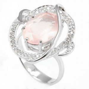 925 Sterling Silver women's ring with cubic zirconia and pink quartz