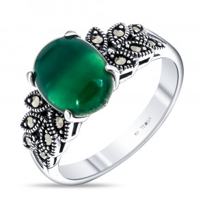 925 Sterling Silver women's rings with green agate and