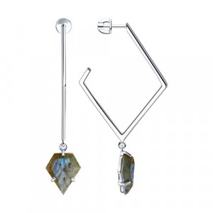 925 Sterling Silver pair earrings with labradorite