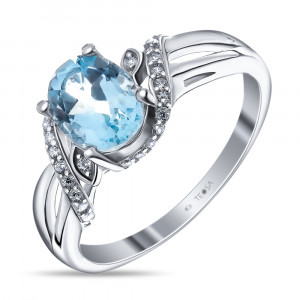 925 Sterling Silver women's ring with topaz and cubic zirconia
