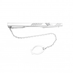 925 Sterling Silver tie clips with cubic zirconia