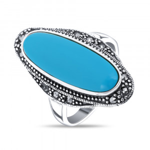925 Sterling Silver women's ring with marcasite and turquoise