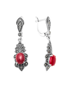925 Sterling Silver pair earrings with marcasite and imit. coral