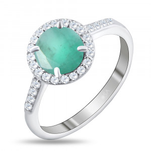 925 Sterling Silver women's rings with white topaz and emerald
