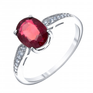 925 Sterling Silver women's rings with white topaz and rubin