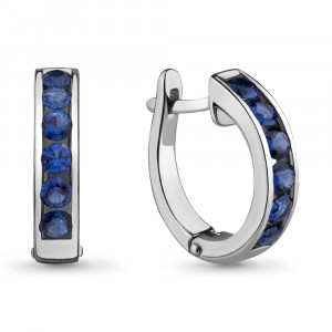 925 Sterling Silver pair earrings with nano sapphire