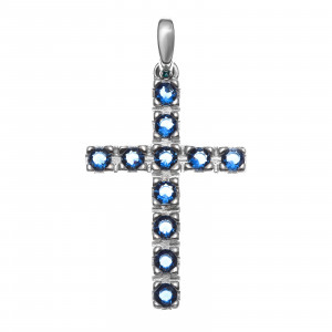 925 Sterling Silver pendants with multicolor cubic zirconia and jewelry glass