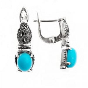 925 Sterling Silver pair earrings with marcasite and turquoise