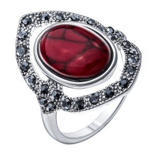 Bijuterii Alloy women's ring with synthetic coral