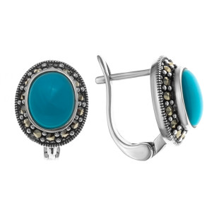 925 Sterling Silver pair earrings with synthetic turquoise and marcasite