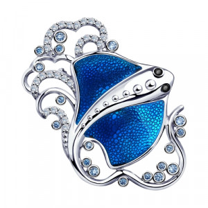 925 Sterling Silver brooches with cubic zirconia and enamel