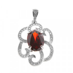 925 Sterling Silver pendants with synthetic garnet