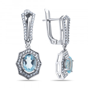925 Sterling Silver pair earrings with topaz