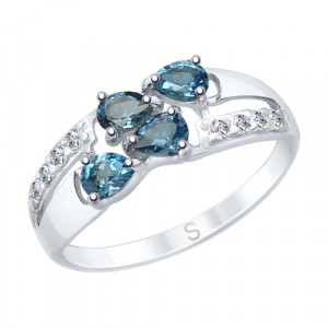 925 Sterling Silver women's rings with cubic zirconia and topaz