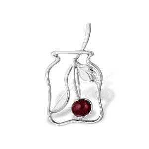 925 Sterling Silver brooches with synthetic corundum