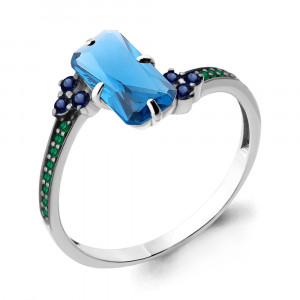 925 Sterling Silver women's rings with nano london topaz and nano topaz