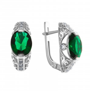 925 Sterling Silver pair earrings with quartz pl. emerald and cubic zirconia