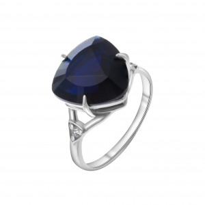925 Sterling Silver women's rings with sapphire and quartz pl. sapphire