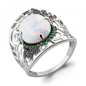 925 Sterling Silver women's rings with nano emerald and synthetic white opal