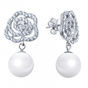 925 Sterling Silver pair earrings with mallorca and cubic zirconia