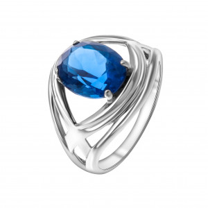925 Sterling Silver women's rings with quartz pl. sapphire and sapphire
