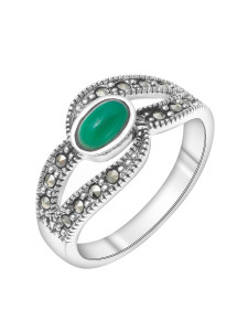 925 Sterling Silver women's rings with marcasite and green agate