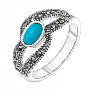 925 Sterling Silver women's rings with marcasite and synthetic turquoise