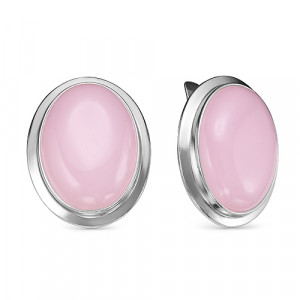 925 Sterling Silver pair earrings with  and pink quartz