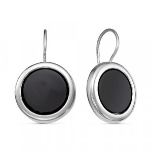 925 Sterling Silver pair earrings with black agate and