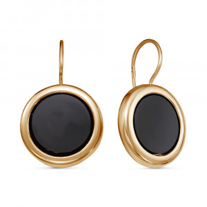 925 Sterling Silver pair earrings with black agate and glass