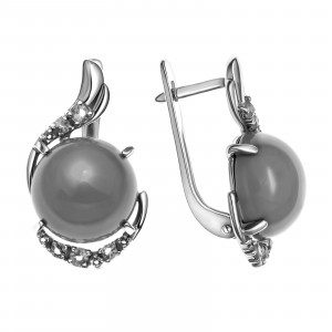 925 Sterling Silver pair earrings with chrysoprase and alpana