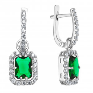 925 Sterling Silver pair earrings with crystal and
