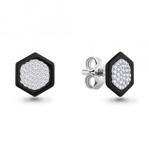 925 Sterling Silver pair earrings with glass and ceramics