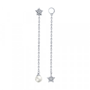 925 Sterling Silver pair earrings with pearl imit. and pearl