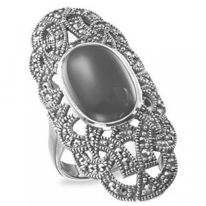 925 Sterling Silver women's ring with marcasite and green agate