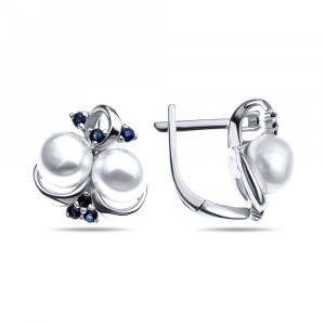 925 Sterling Silver pair earrings with pearl cult. and sapphire