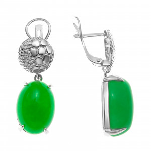 925 Sterling Silver pair earrings with chrysoprase