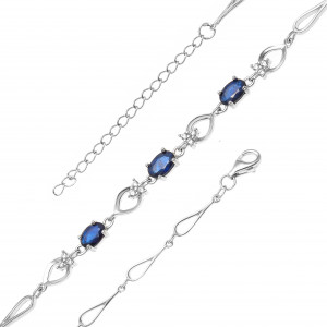 925 Sterling Silver bracelets with corundum and