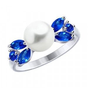 925 Sterling Silver women's rings with pearl imit. and cubic zirconia