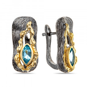 925 Sterling Silver pair earrings with swiss topaz