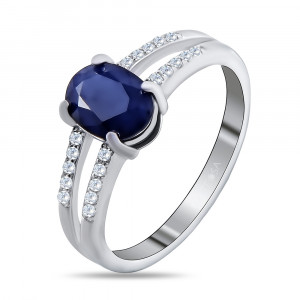 925 Sterling Silver women's rings with sapphire and white topaz