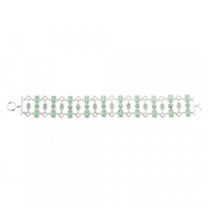 925 Sterling Silver bracelets with cubic zirconia and synthetic emerald