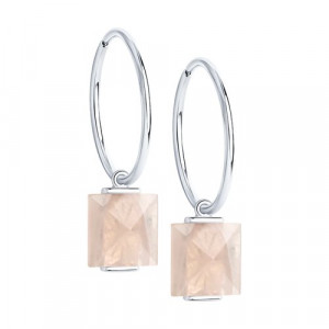 925 Sterling Silver pair earrings with quartz