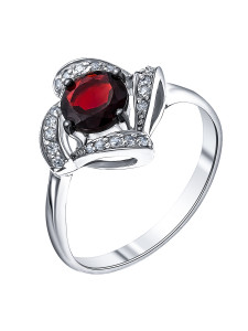 925 Sterling Silver women's ring with garnet