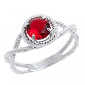 925 Sterling Silver women's ring with glass