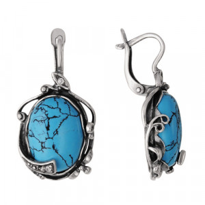925 Sterling Silver pair earrings with turquoise imitation and synthetic turquoise