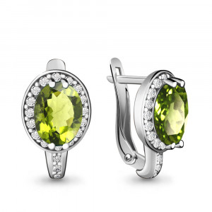 925 Sterling Silver pair earrings with chrysolite and cubic zirconia