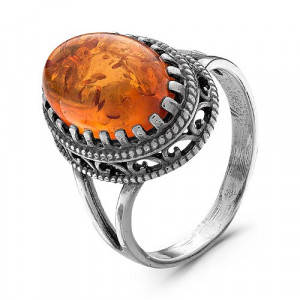 925 Sterling Silver women's rings with  and synthetic amber
