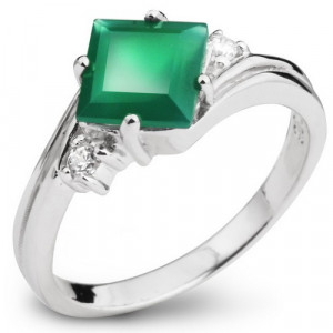 925 Sterling Silver women's ring with green agate