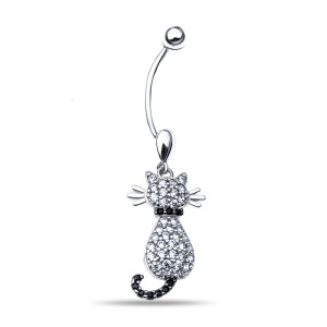 925 Sterling Silver piercing with nano crystal and synthetic spinel